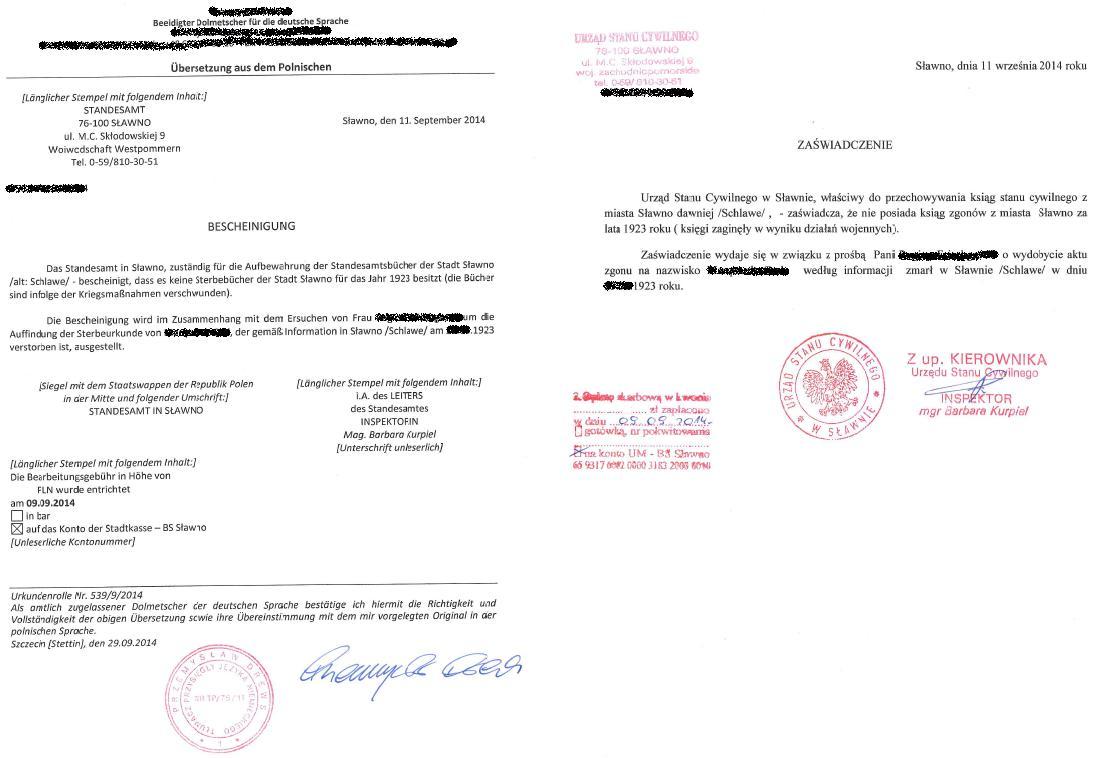 Beantragung einer Sterbeurkunde aus Polen - Unterlagen aus Polen ...
