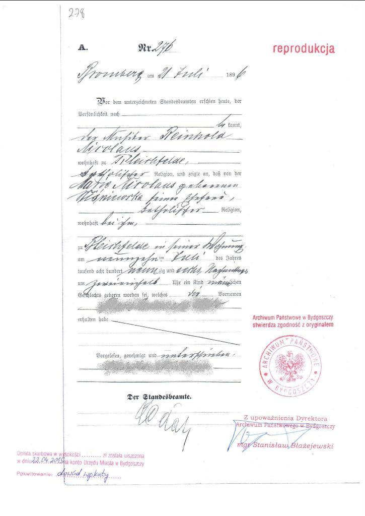 Geburtsurkunden aus Polen, Internationale Geburtsurkunde aus Polen ...