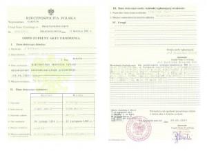 vollständige Abschrift der Geburtsurkunde aus Polen