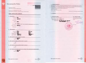 vollständige Abschrift der Geburtsurkunde aus Polen, ein vom Standesamt in Polen ausgestelltes Original.