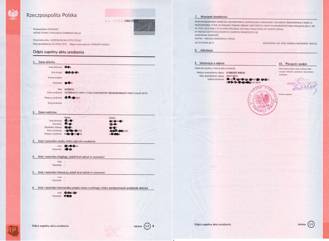 Neue Muster von Unterlagen aus dem Standesamt in Polen - Unterlagen ...